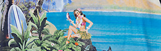 beauty of the beach etui, postcard from tahiti, Webkleider, Grün