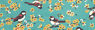 singing in the spring dress, spree sparrows, Webkleider, Blau