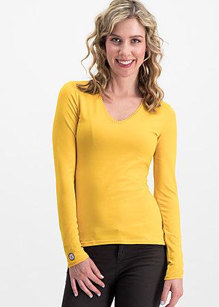 logo longsleeve v-neck uni, golden lantern, Shirts, Yellow