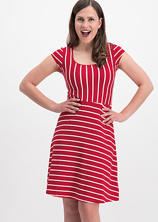 logo stripe dress, date stripe, Dresses, Rot