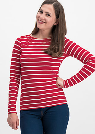 logo stripe longsleeve, date stripe, Shirts, Red