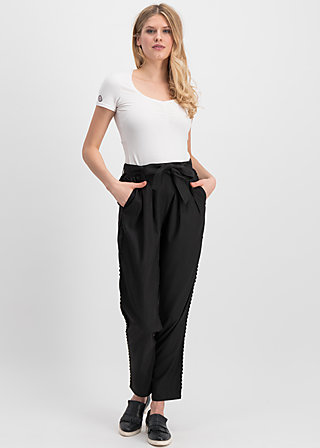 logo woven trousers, midnight black , Trousers, Black