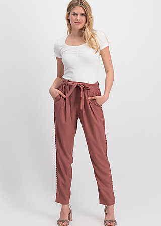 logo woven trousers, rosewood brown , Trousers, Brown
