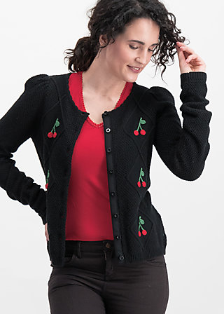 lucky cherry cardigan, night cherry, Cardigans, Schwarz