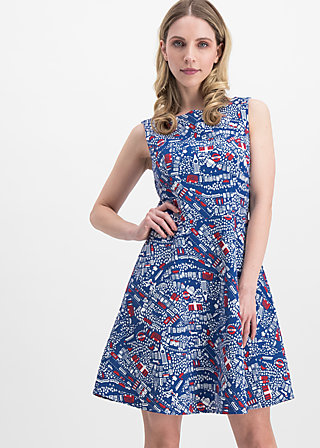 petite and oho dress, big city life, Webkleider, Blau