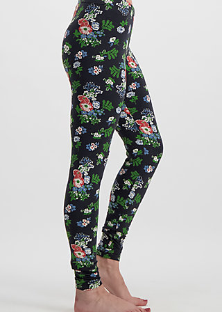 stadtläuferin legs, vagabund flowers, Leggings, Black