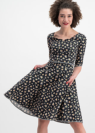 swing a bow dress, flower your block, Webkleider, Schwarz