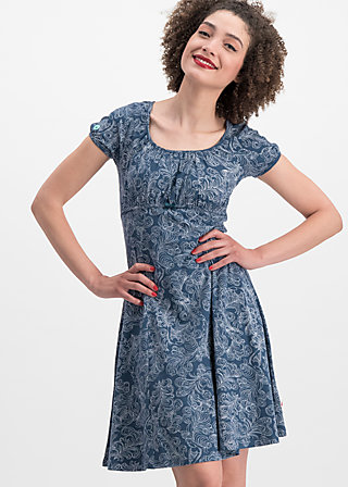 swing along dress, fluffy feather, Kleider, Blau