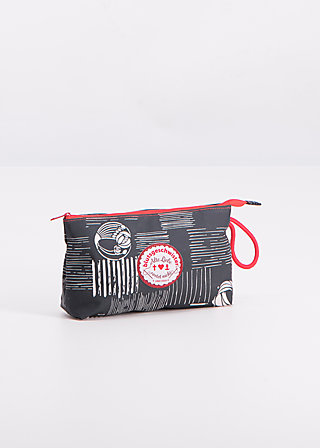 sweethearts washbag, crazy stripes, Accessoires, Black