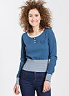 Lakeside cottage Sweat , blue blossom, Strickpullover, Blau