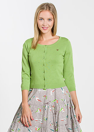 logo knit 3/4 sleeve cardigan, profound green, Cardigans, Grün