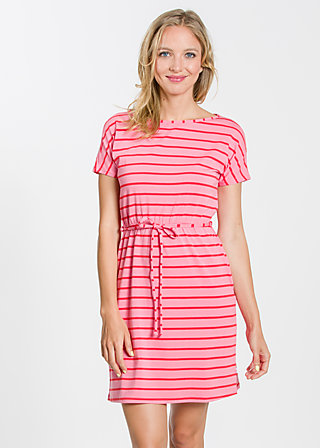 logo shortsleeve dress, pink stripes, Kleider, Rosa
