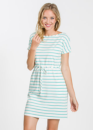 logo shortsleeve dress, white stripes, Kleider, Weiß