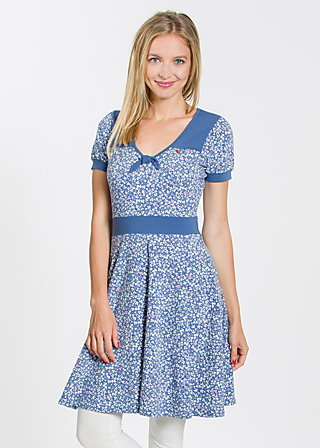wings of spring dress, forest of birds, Kleider, Blau