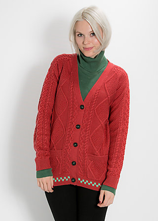 grannys zopf cardy, calm mood, Strickwaren, Rot