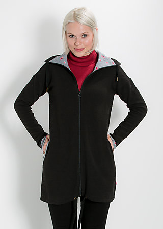 lebensbaum long zip, black balkan, Zipperjacken, Schwarz