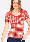 heart to heart shirt, retro dotty, Kurzarm, Rot