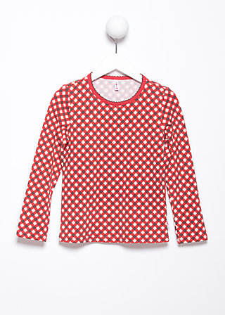 little ladies langsleeve, retro dotty, Shirts, Rot