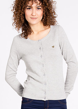 logo knit cardigan, gray ground, Cardigans, Grau