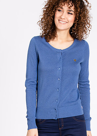 logo knit cardigan, metro blue, Cardigans, Blau