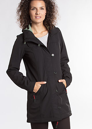 wild weather long anorak, classic chic, Softshell, Schwarz