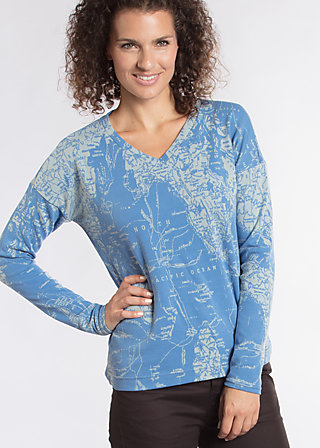 wonderful world sweat, travel to the north, Pullover, Blau