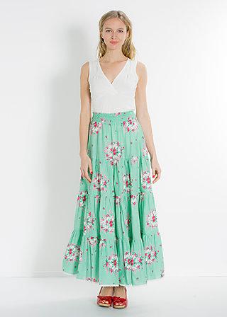 marys long picknick skirt, frames of floral, Rock, Grün