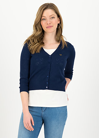 logo cardigan v-neck 3/4 arm, dark blue heart anchor, Pullover & leichte Jacken, Blau