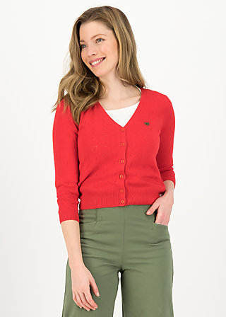logo cardigan v-neck 3/4 arm, red heart anchor , Pullover & leichte Jacken, Rot