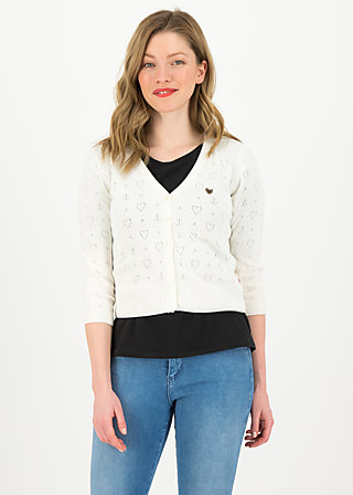 logo cardigan v-neck 3/4 arm, white heart anchor , Pullover & leichte Jacken, Weiß