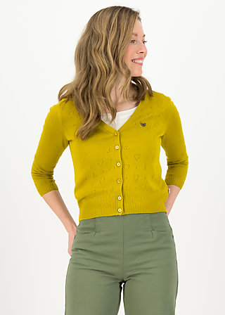 logo cardigan v-neck 3/4 arm, yellow heart anchor , Cardigans & leichte Jacken, Gelb