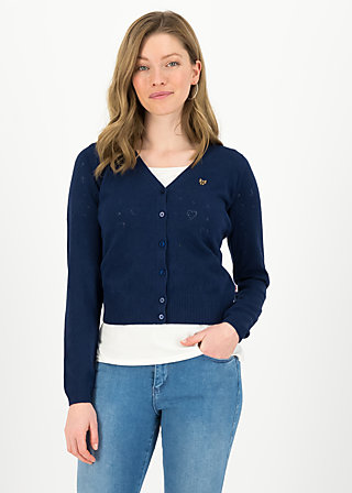 logo cardigan v-neck lang, dark blue heart anchor, Jumpers & lightweight Jackets, Blue