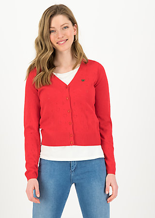 logo cardigan v-neck lang, red heart anchor , Cardigans & Knitted Jackets & Blazer, Red