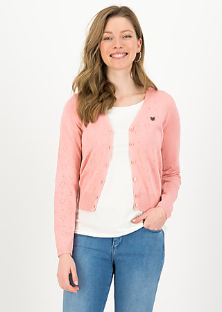 logo cardigan v-neck lang, rose heart anchor , Pullover & leichte Jacken, Rosa