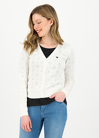 logo cardigan v-neck lang, white heart anchor , Cardigans & Strickjacken & Blazer, Weiß