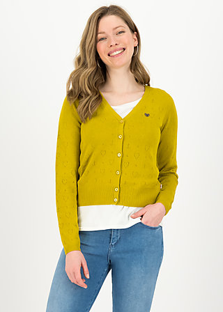 logo cardigan v-neck lang, yellow heart anchor , Pullover & leichte Jacken, Gelb