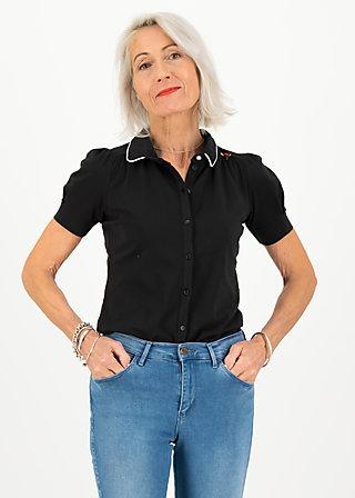 logo jersey blousette, simply black, Shirts, Schwarz