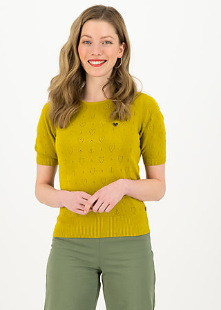 logo pully round neck 1/2arm, yellow heart anchor , Pullover & leichte Jacken, Gelb