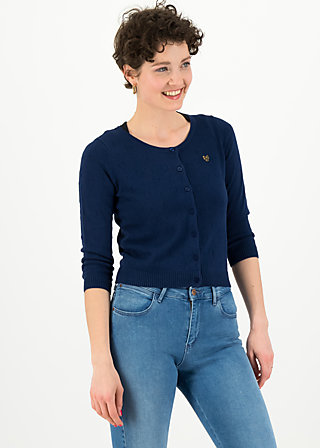 logo roundneck cardigan short, dark blue heart anchor, Pullover & leichte Jacken, Blau