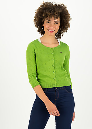 logo roundneck cardigan short, green heart anchor , Pullover & leichte Jacken, Grün