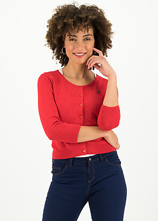 logo roundneck cardigan short, red heart anchor , Pullover & leichte Jacken, Rot