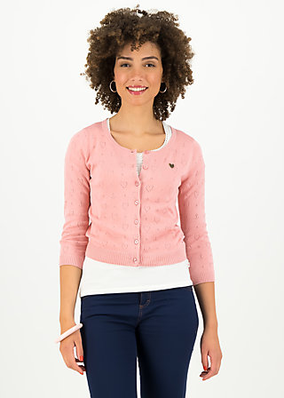 logo roundneck cardigan short, rose heart anchor , Jumpers & lightweight Jackets, Pink