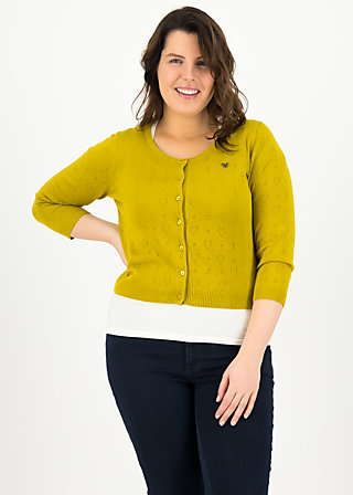logo roundneck cardigan short, yellow heart anchor , Cardigans & lightweight Jackets, Yellow