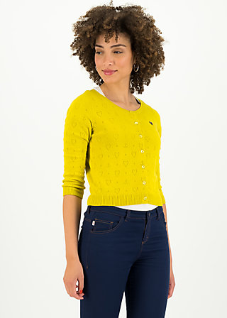 logo roundneck cardigan short, yellow heart anchor , Pullover & leichte Jacken, Gelb