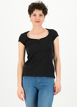 logo shortsleeve feminine, simply black, Shirts, Schwarz