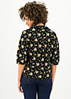 Blouse with Peter Pan Collar strict leisurness, campsite flowers, Blouses & Tunics, Black