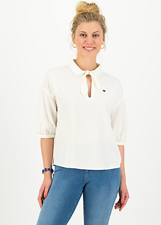 Blouse with Peter Pan Collar strict leisurness, milky white, Blouses & Tunics, White