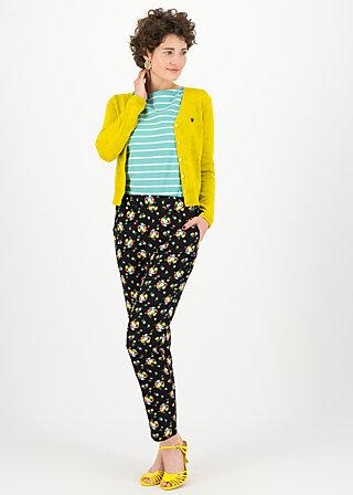 upsy daisy trousers, campsite flowers, Hosen, Schwarz