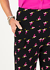wanderlust pants, tiny toucan, Trousers, Black