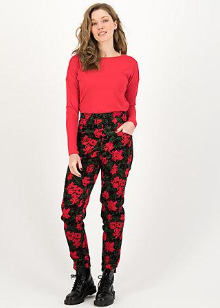 High-Waist Pants non smoking, ornate roses, Trousers, Black
